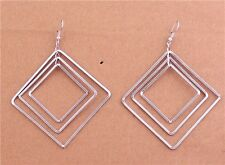 New Tibet Silver Plated Layers Hollow Out Square Dangles Ear Hook Charm Earrings