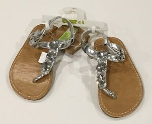 NWT Gymboree Crazy 8 Size 7 Silver Metallic Gem Toddler Sandals for about 2T