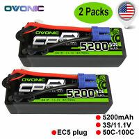 OVONIC 5200mAh 11.1V 50C Lipo 3S Battery EC5 Plug Hardcase for 1/8 1/10 Car Boat