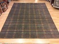 Modern Grey & Multi Colour Striped Handwoven Wool Rug Large XXL 249x307cm 60%OFF