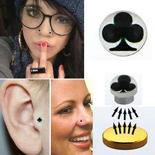 1PC Logo Fake Illusion Piercing Magnetic Steel Labret Nose Ear Body Black Clover