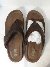 GBX Legend Brown Leather Canvas Thong Sandals Flip Flops Mens 9 Medium