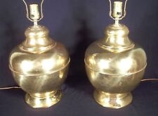 VINTAGE PAIR OF MID CENTURY MODERN FAT BULBOUS URN BRASS LAMPS