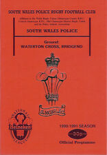 SOUTH WALES POLICE v NEWPORT 24 Nov 1990 RUGBY PROGRAMME at BRIDGEND