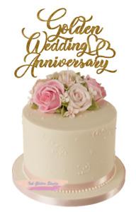 Golden Wedding Anniversary Glitter Cake Topper Decoration 50th Anniversary