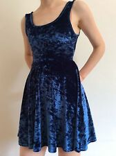 Topshop Petite UK Size 8 Blue VELVET Skater Dress mini short fit and flare