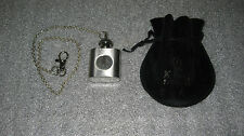 Vintage Stainless Steel Flask 1 oz With Chain Pewter American Eagle And Pouch