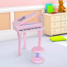 37 Key Kids Play Piano Electronic Keyboard Toy W/ Stool & Microphone  Pink
