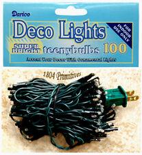 100 count TEENY Bulb Light Strand w/ GREEN Cord -- RICE Lights
