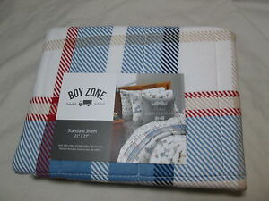 New Boy Zone 1 Standard Pillow Sham 21x27 - Red, Beige, Blue & White Plaid NIP