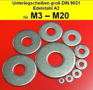 Edelstahl A2 8,4 X 40 20 St/ück - Gro/ße Unterlegscheiben V2A Kotfl/ügelscheiben Karosseriescheiben f/ür M8