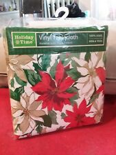 Vinyl Holiday Poinsettia Tablecloth, Brand New in Package