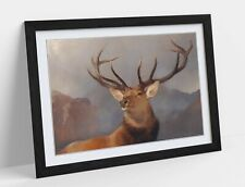 RED STAG POLYGON -ART FRAMED POSTER PICTURE PRINT ARTWORK- WATERCOLOUR