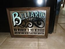 Vintage Billiards Mirrored sign,Both Feet Must Be on the floor when Shooting