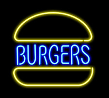 Burgers Hamburger Open Neon Sign Lamp Light With Dimmer Acrylic Beer Bar
