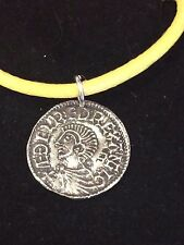 "Aethelred II Coin WC3 Made From English Pewter On 18"" Yellow Cord Necklace"