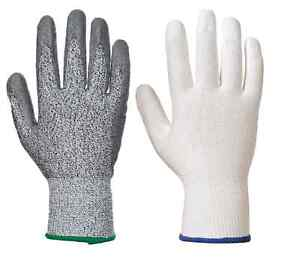 Portwest A620 Cut 3 PU Palm Safety Gloves Grey & White 6,12,24 Pairs