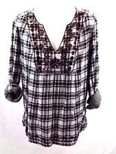 Vintage America Women's Shirt Top Blouse Plaid Size M Long Sleeve Cotton NWT