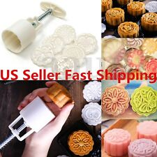 6 Style Stamps 50g Round Flower Moon Cake Mold Mould White Set Mooncake Decor US