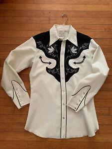 H Bar C Vintage Mens 17-34 White wBlack Contrast Stitch Pearl Snap Western Shirt
