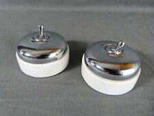 French Set of 2 Electric Chrome & Porcelain Light Switches Toggle Retro Classic