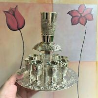 Wine Fountain Kiddush & 8 Goblets Silver plate Judaica