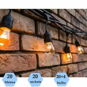 20M Waterproof Festoon String Lights S14 Clear Bulb Xmas Outdoor Indoor Wedding