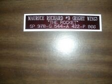 MAURICE RICHARD (CANADIENS) CAREER ENGRAVED NAMEPLATE FOR PHOTO/DISPLAY/POSTER