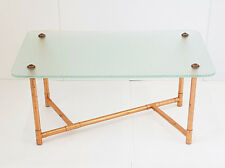 Coffee Table Glass & Bamboo Copper Years 50 1950 Vintage Rockabilly 50S 50'S