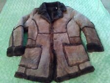 VTG SEARS THE LEATHER SHOP SHEARLING COAT MARLBORO 42 MEN 80S WESTERN USA COWBOY