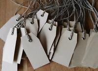 Bis 100 x Hängeetiketten 30x60mm Etiketten Öse Braun Papier Preisschilder Schnur