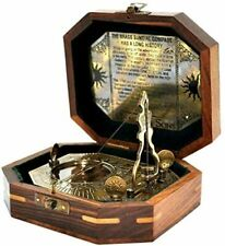 "Antique vintage brass 4"" sundial pendulum antique finish with wooden box gift"