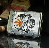 Vintage Metal Cigarette Case Novelty Skull Slim Pocket Tobacco Box Container