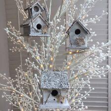 CHRISTMAS HANGING ORNAMENT WOODEN MINI BIRD HOUSE NESTING BOX XMAS DECORATION