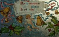 VTG 1910 A Merry Christmas May the sunshine of affection Light today Postcard P1