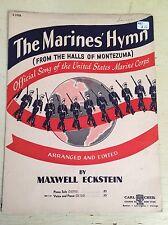 VINTAGE 1943 SHEET MUSIC THE MARINES' HYMN: FROM THE HALLS OF MONTEZUMA ECKSTEIN