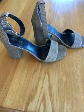 Next Gold Block Heel Sandals Size 5 New