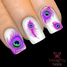 ETHEREAL PURPLE PEACOCK Feather Nail Water Transfer Decal Sticker Art Tattoo
