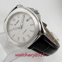 39mm Bliger Weiß dial Datum Saphirglas Leder Automatisch Movement Uhr mens Watch