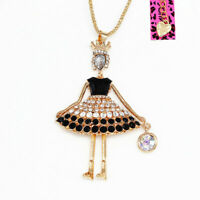 Betsey Johnson Enamel Crystal Crown Girl Princess Pendant Sweater Chain Necklace