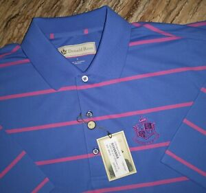 Donald Ross Golf Polo Shirt Men's Size L Polyester Blue & Pink Striped $79.00