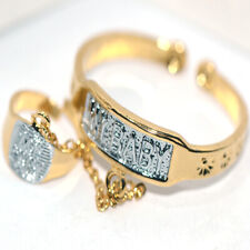"Safe Baby Toddle Childrens Cuff Bangle Bracelet Ring Jewelry Set Gold ""My Baby"""