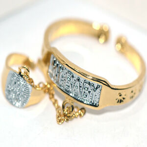 """Safe Baby Toddle Childrens Cuff Bangle Bracelet Ring Jewelry Set Gold """"My Baby"""""""