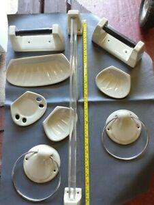9 piece Retro Avocado coloured ceramic bathroom/cloakroom set by Heatherley