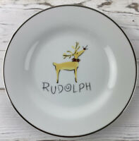 "Pottery Barn Rudolph Reindeer Salad Dessert Plate  - 8 1/2"" Christmas Plate"