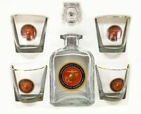 U. S. Marines Decanter Set - 4 Old Fashioned High Ball Glasses - 5 Piece Set