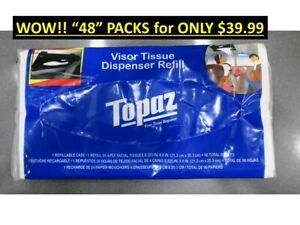 48 Packs Topaz Tissues Refill Pack: Tissue Refills for Tempo Sun Visor Dispenser