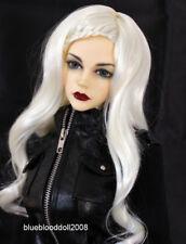 "1/4 bjd 7-8"" doll head white braid long wig dollfie Luts Iplehouse JD204SM413M"