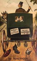 Postcard, Honeymoon, Horse Carriage, Cartoon, Half Penny Stamp, Vintage J02