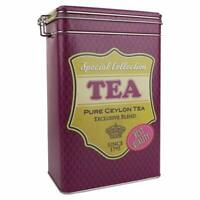 NEW VINTAGE STYLE CLIP TOP TEA PURPLE STORAGE CONTAINER CANISTER TIN